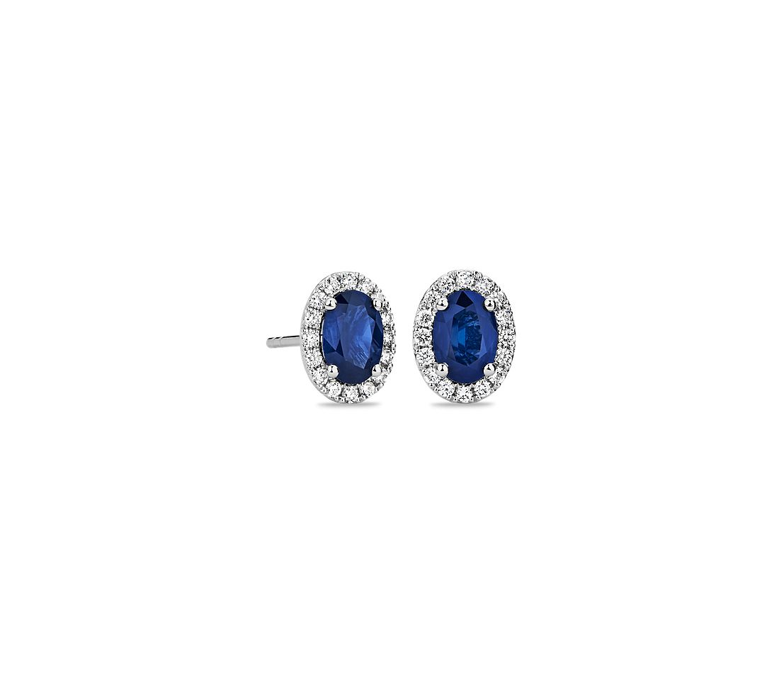 Oval Shire And Diamond Micropavé Stud Earrings In 14k White Gold 6x4mm