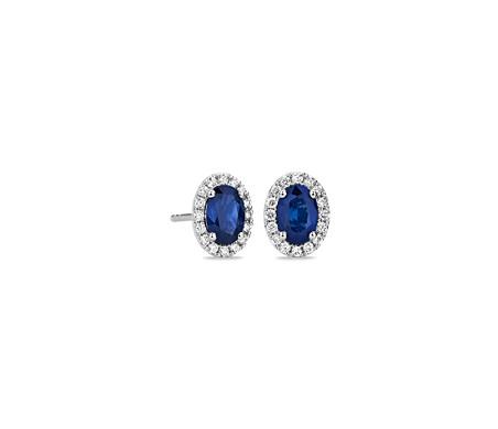 Oval Sapphire & Diamond Stud Earrings