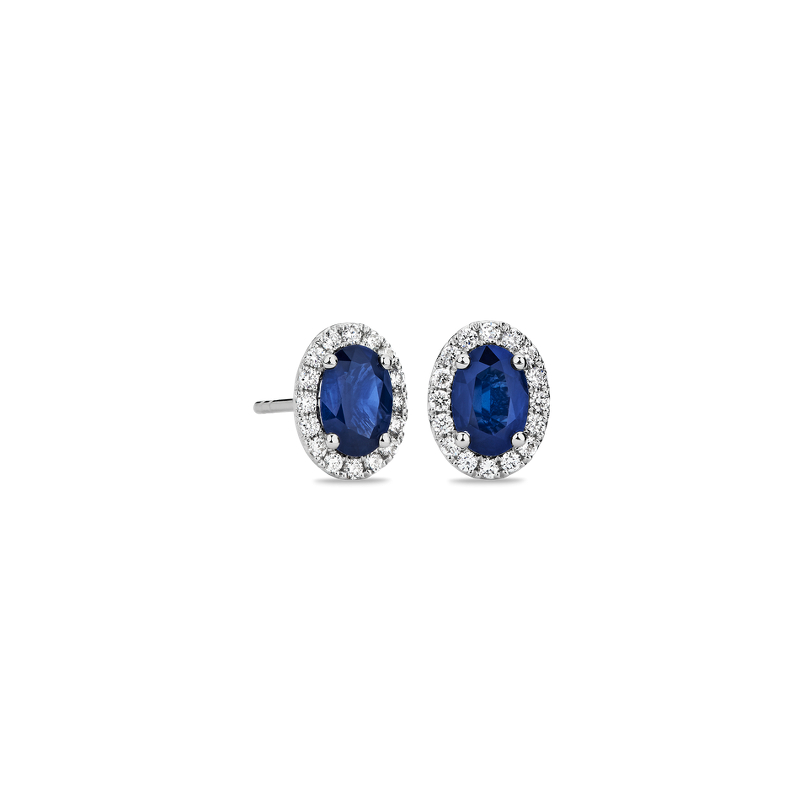 Oval Sapphire and Diamond Micropavé Stud Earrings in 14k W