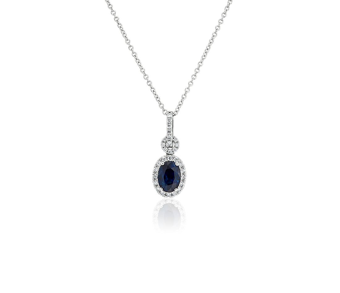 Oval Sapphire Pendant with Diamond Bail in 14k White Gold