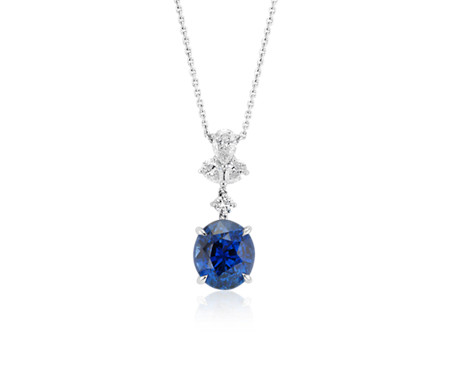 blue necklace handmade pendant oval white saphire gold carat sapphire diamond solitaire