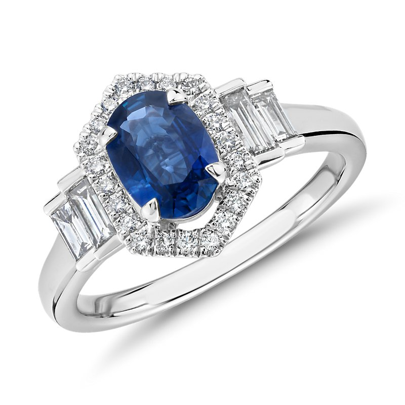 Oval Sapphire Ring with Diamond Hexagon Halo and Baguette Sidesto