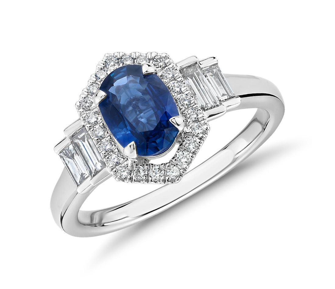 Oval Sapphire Ring with Diamond Hexagon Halo and Baguette Sidestones in 14k White Gold (7x5mm)