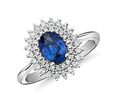 Oval Sapphire Ring with Double Sunburst Diamond Halo in 14k White Gold (7x5mm)