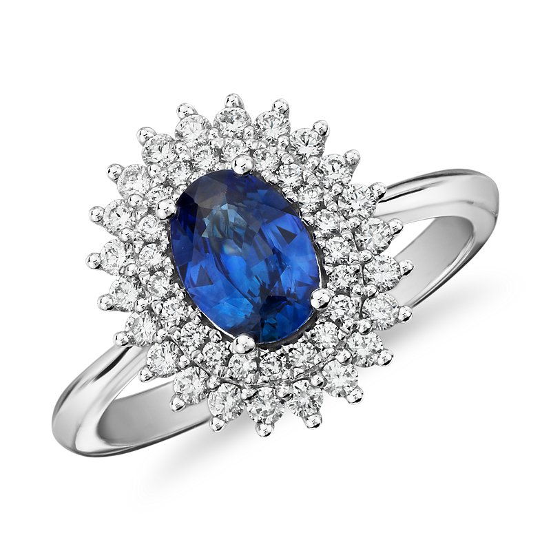Oval Sapphire Ring with Double Sunburst Diamond Halo in 14k White