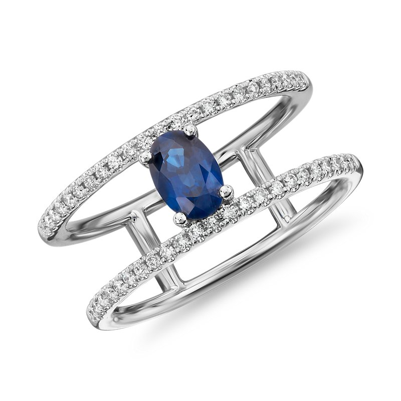 Oval Sapphire Ring with Open Diamond Shank in 14k White Gold (6x4