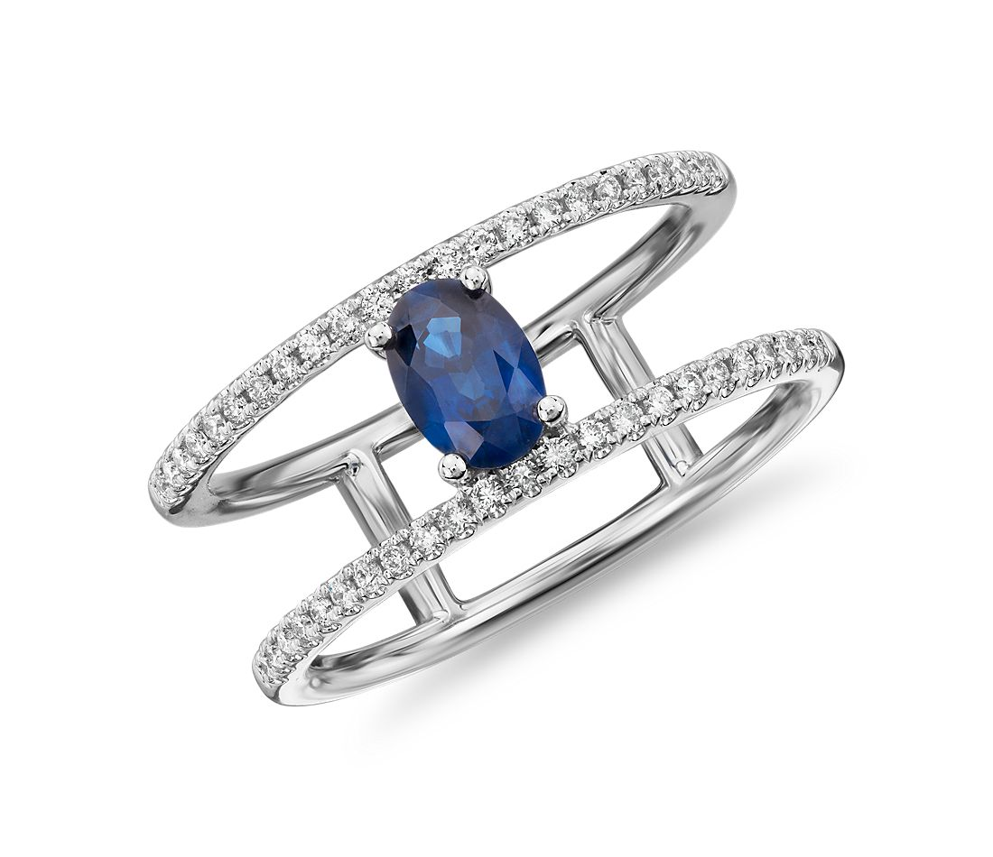 Oval Sapphire Ring with Open Diamond Shank in 14k White Gold (6x4mm)