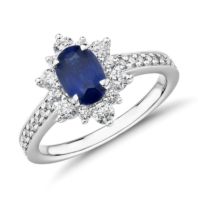 Oval Sapphire Ring with Star Halo in 14k White Gold (7x5mm)