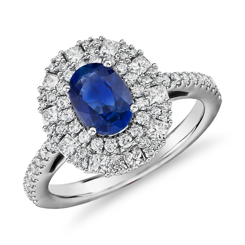 Oval Sapphire Ring with Double Diamond Halo in 14k White Gold (7x
