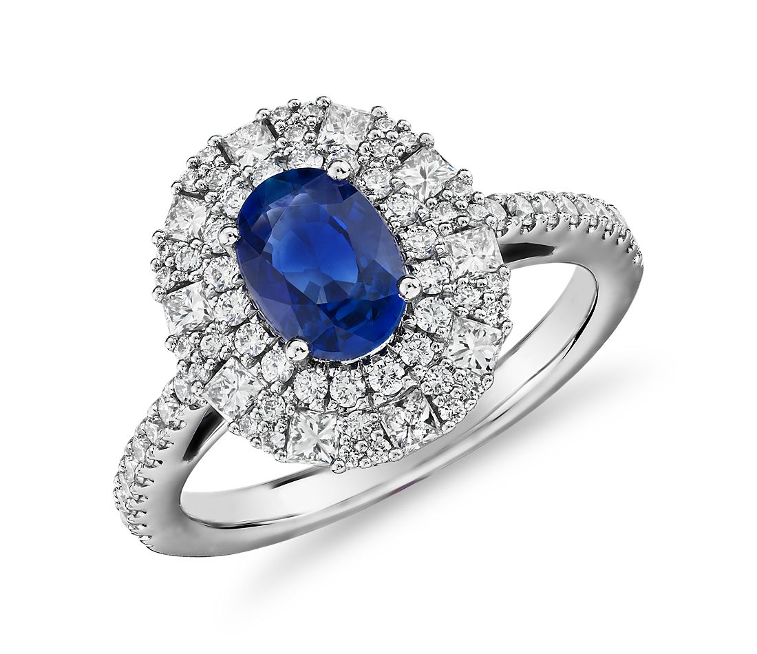 Oval Sapphire Ring with Double Diamond Halo in 14k White Gold (7x5mm)