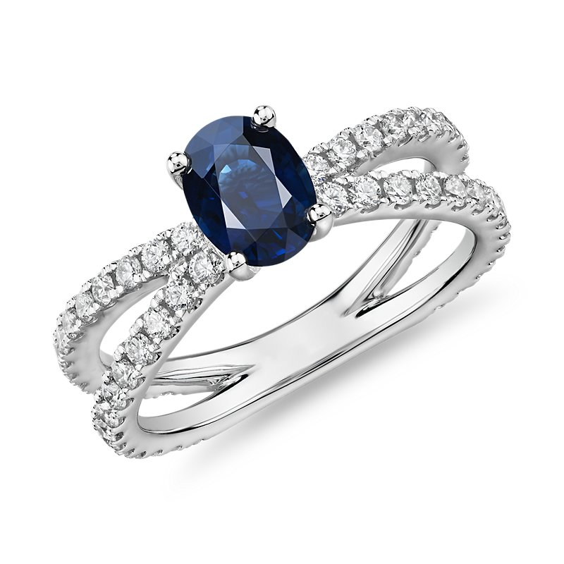 Oval Sapphire Ring with Pave Split Shank in 14k White Gold (7x5mm
