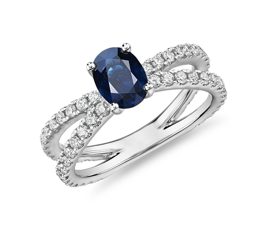 Oval Sapphire Ring with Pave Split Shank in 14k White Gold (7x5mm)