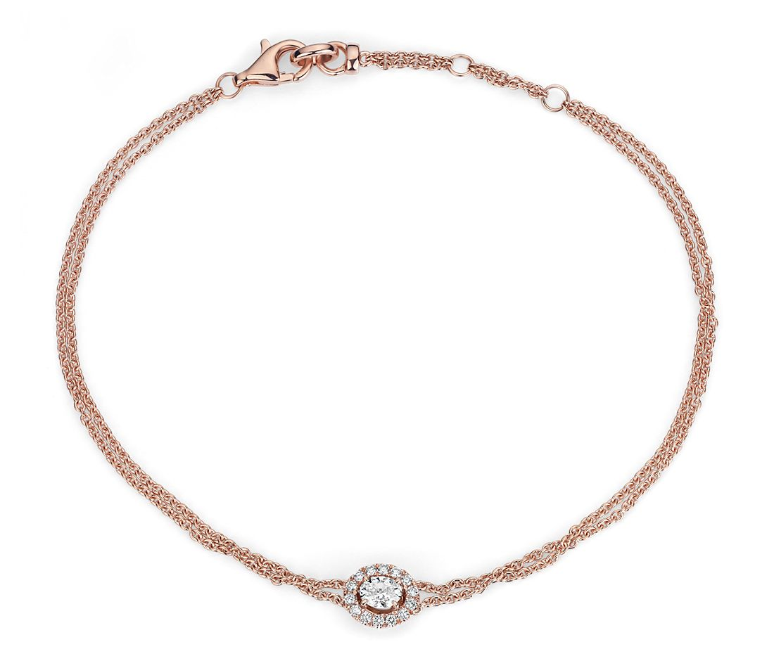Oval Shape Diamond Halo Bracelet in 14k Rose Gold
