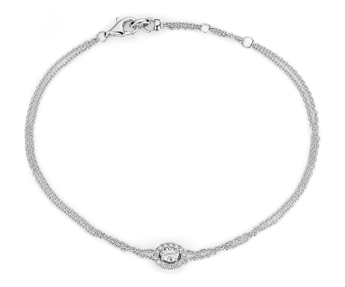 14k 白金椭圆形切割钻石光环手链(1/4 克拉总重量)