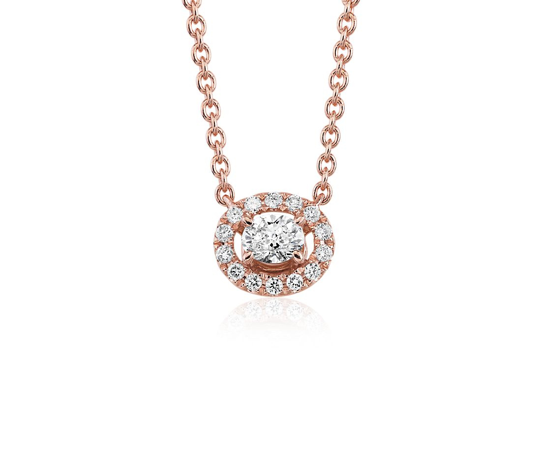Oval Shape Diamond Halo Pendant in 14k Rose Gold