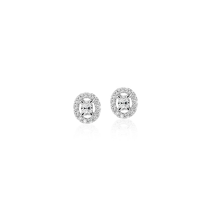 Oval-Cut Diamond Halo Stud Earrings in 14k White Gold (1/4 ct. tw
