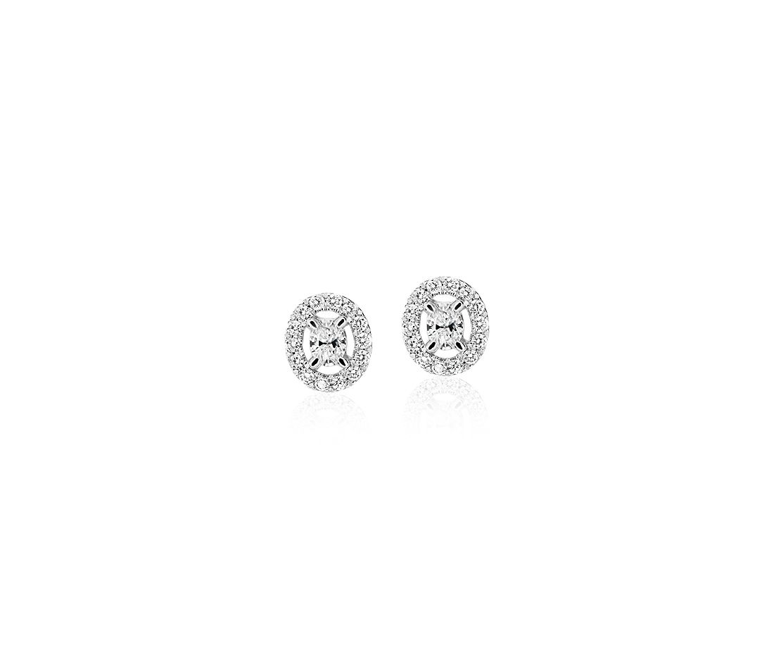 Oval-Cut Diamond Halo Stud Earrings in 14k White Gold (1/4 ct. tw.)