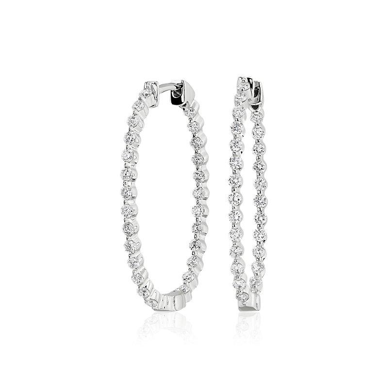 Diamond Oval Shape Hoop Earrings in 14k White Gold (1 3/4 ct. tw.