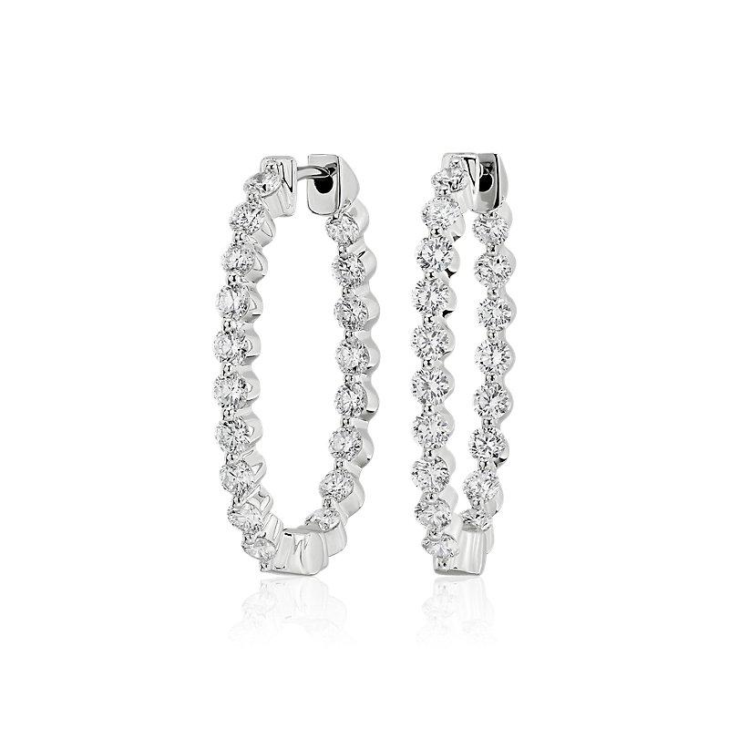 Diamond Oval Shape Hoop Earrings in 14k White Gold (1 5/8 ct. tw.