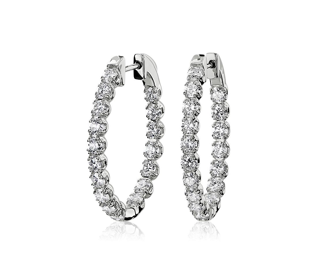 Oval Shape Double Claw Diamond Hoop Earrings in 14k White Gold (2.74 ct. tw.)