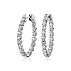 NEW Oval Shape Double Claw Diamond Hoop Earrings in 14k White Gold (2.74 ct. tw.)