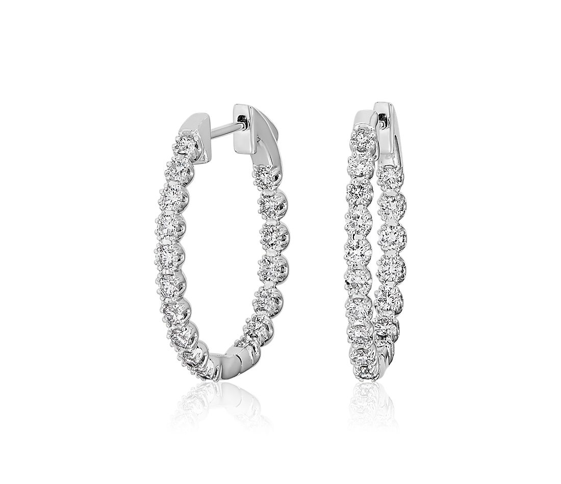 Oval Shape Double Claw Diamond Hoop Earrings in 14k White Gold (1.52 ct. tw.)