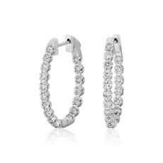 Oval Shape Double Claw Diamond Hoop Earrings in 14k White Gold (1 1/2 ct. tw.)