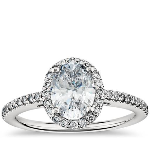 Oval Halo Diamond Engagement Ring In Platinum Blue Nile