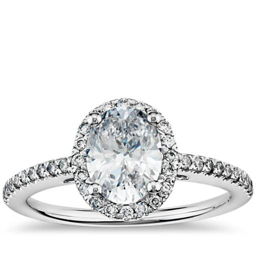 Oval Halo Diamond Engagement Ring In 14k White Gold Blue