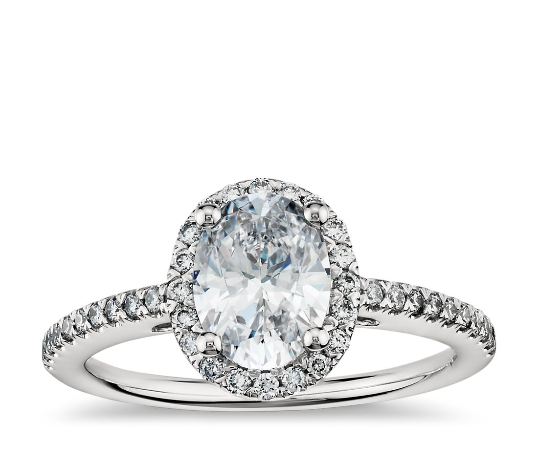 oval halo diamond engagement ring in platinum - Oval Wedding Rings