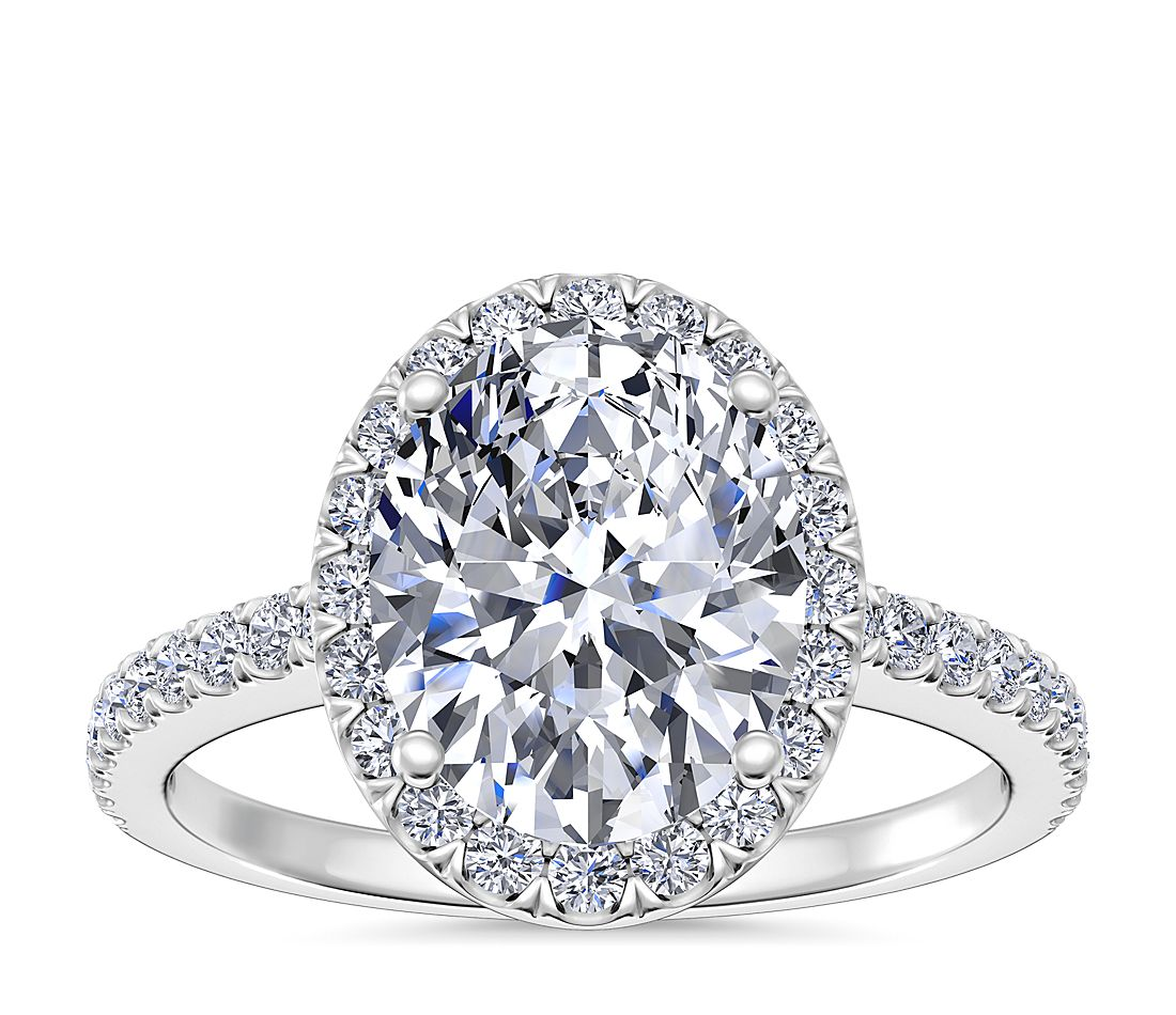 cc022028ce0 Oval Halo Diamond Engagement Ring in Platinum