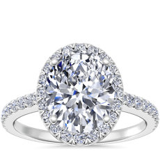 Bague de fiançailles halo de diamants ovale en or blanc 14 carats