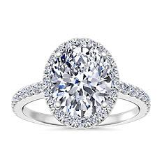 14k 白金椭圆形光环钻石订婚戒指