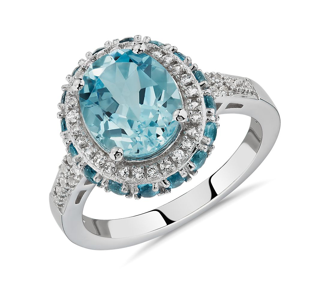 London Blue Topaz /& Diamond 14k Yellow Gold Over Sterling Silver Halo Ring