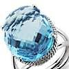 Oval Swiss Blue Topaz Ring in 14k White Gold