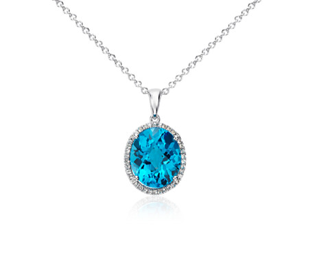 Swiss blue topaz and white sapphire halo oval pendant in sterling swiss blue topaz and white sapphire halo oval pendant in sterling silver 12x10mm aloadofball Images