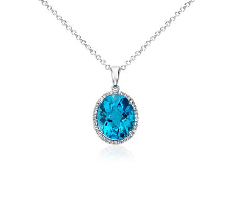 925 纯银瑞士蓝色托帕石和白宝石光环椭圆吊坠<br>(12x10毫米)