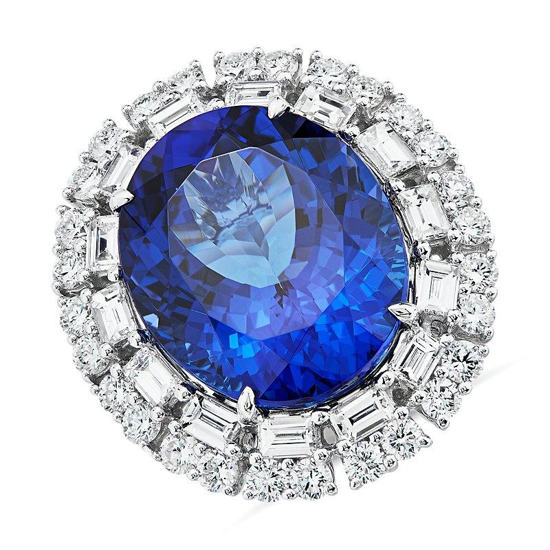 Oval Tanzanite and Diamond Ring 18k White Gold