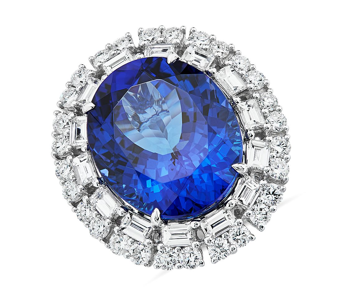 Oval Tanzanite and Diamond Ring 18k White Gold