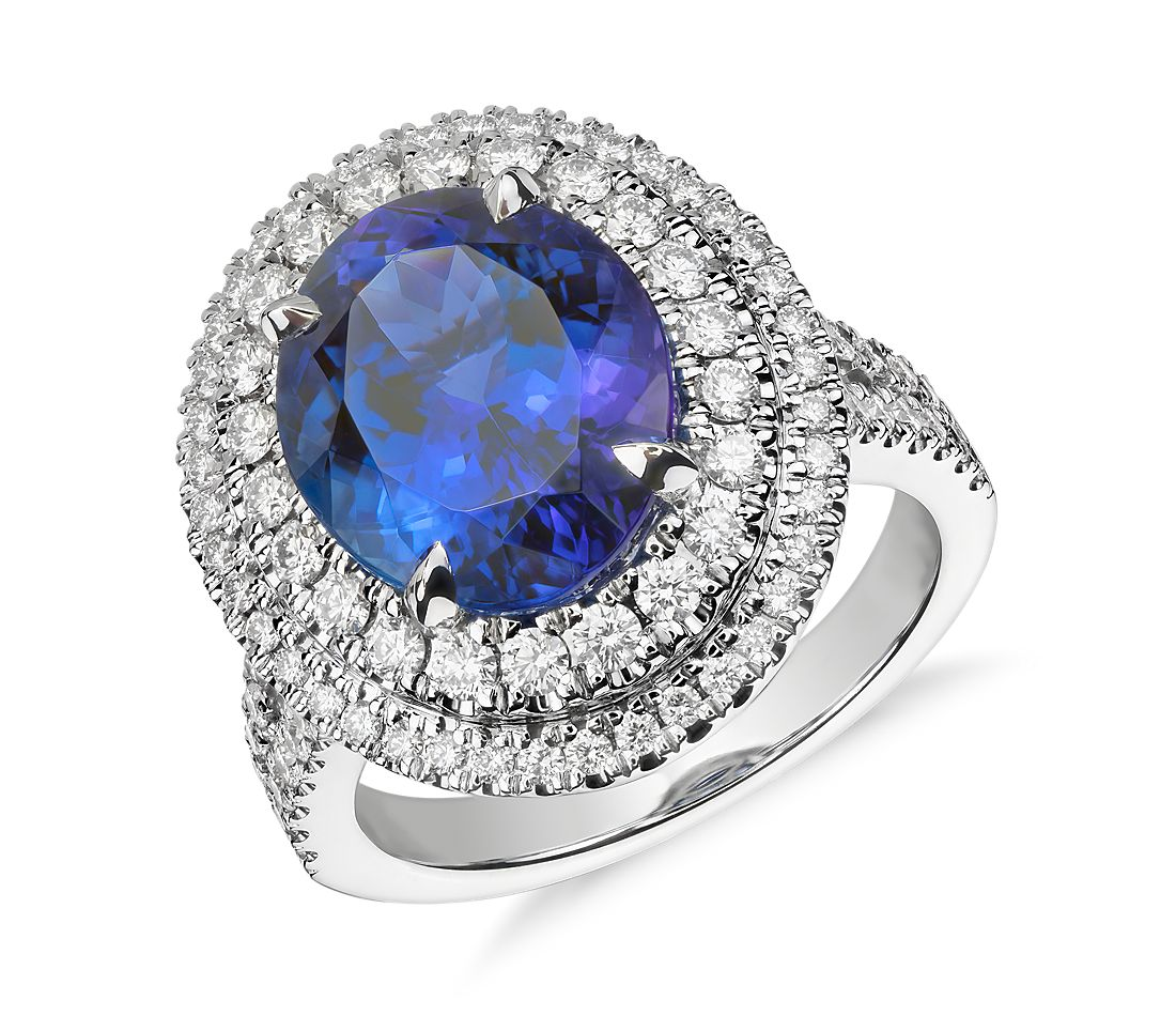 Oval Tanzanite and Diamond Double Halo Ring in 18k White Gold 5 17ct center