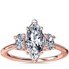 Oval Three-Stone Diamond Engagement Ring in 18k Rose Gold (1/3 ct. tw.)