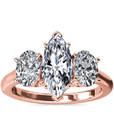 18k 玫瑰金椭圆形三石钻石订婚戒指(1 克拉总重量)