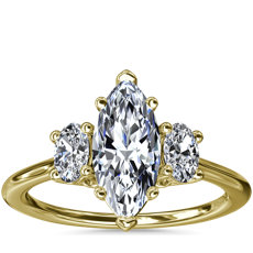 Oval Three-Stone Diamond Engagement Ring in 18k Yellow Gold (1/3 ct. tw.)