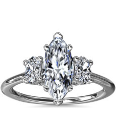 Oval Three-Stone Diamond Engagement Ring in Platinum (1/3 ct. tw.)
