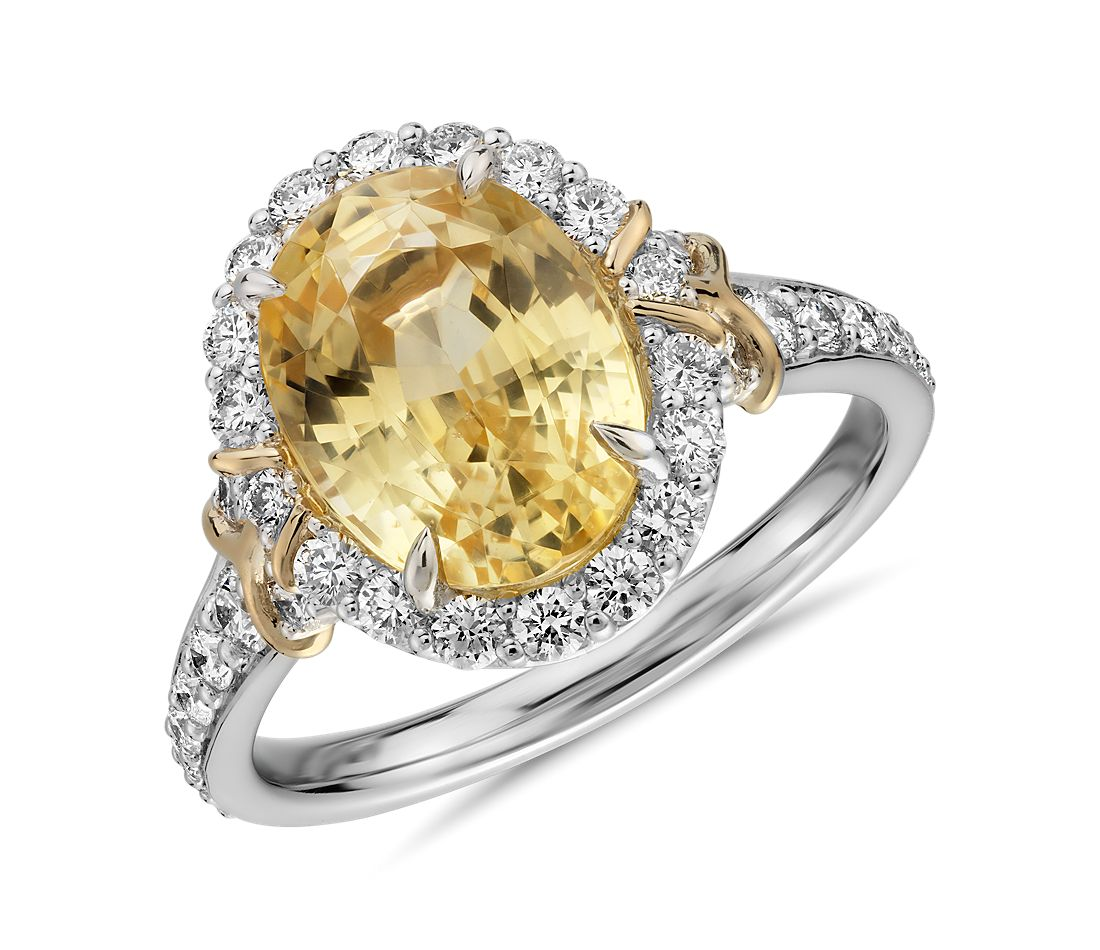 7030e75674b33d Oval Yellow Sapphire Ring with Diamond Halo and Ribbon Detail in Platinum  and 18k Yellow Gold (10.4xmm) | Blue Nile