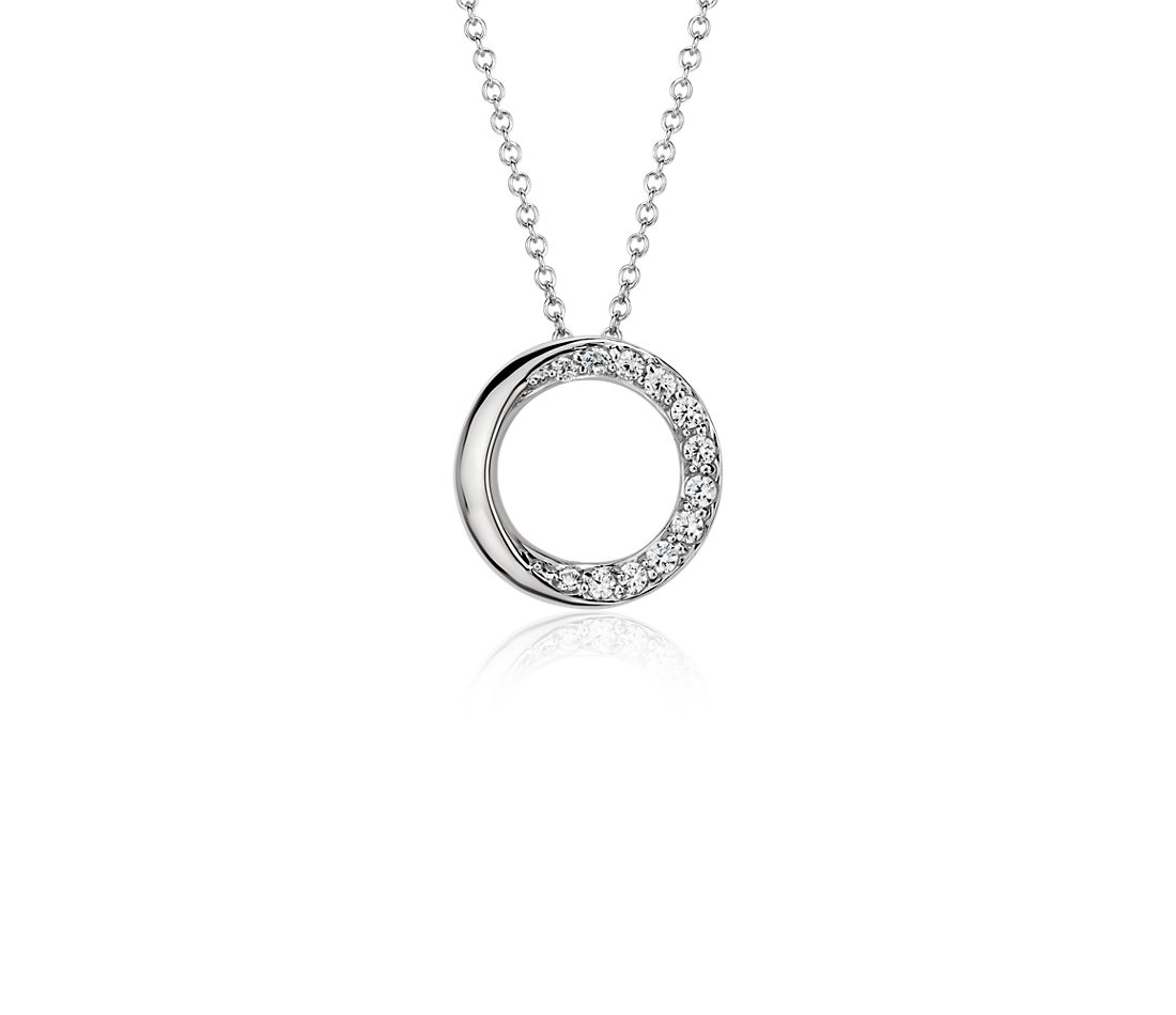 Pendentif diamant cercles superposés en or blanc 14 carats