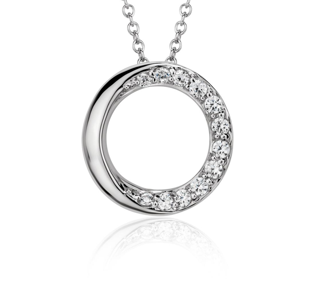 Pendentif diamant cercles superposés en or blanc 14carats