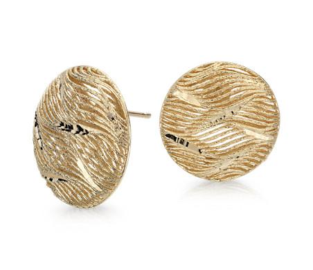 Boucles d'oreilles bouton surdimensionnées en or jaune italien 14carats