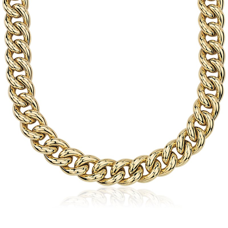 Oversized Hollow Curb Chain Necklace in 14k Italian Yellow Gold (