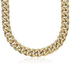 14k 意大利黄金超大中空锁链式项链(14.5 - 18毫米)